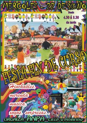 MERCORES  22 DE XUÑO FESTA DE FIN DE CURSO A PARTIR DAS 4:30 DA TARDE