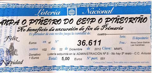 LOTERIA NADAL ANPA O PIÑEIRO - 2012